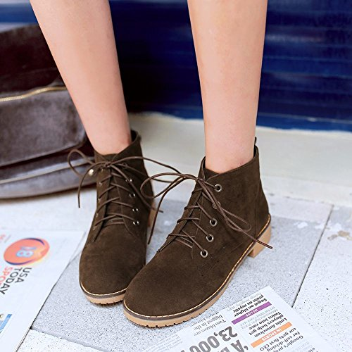 Mee Shoes Womens Nubuck Ankle-high Lace-up Boots Brown nG55D1e