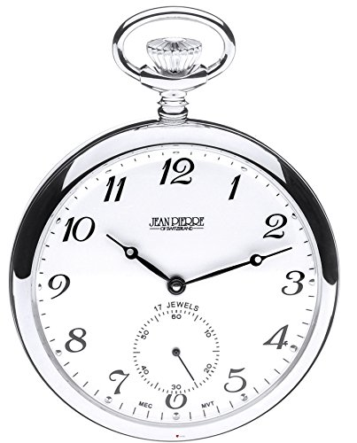 Sterling Silver Open Faced Pocket Watch - 17 Jewel Mechanical Movement - Luxury