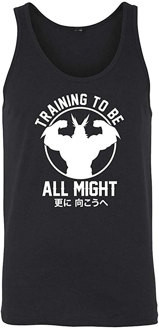 KKLDOGS Design Training to Be All Might Boku No My Hero Academia Inspired Gym Mens Tank Top Black