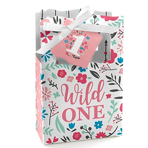 She's a Wild One - Boho Floral 1st Birthday Party Favor Boxes - Set of 12 ()
