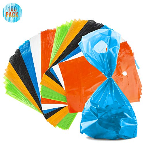 FAVONIR Assorted Colors Party Favor Plastic Bags Pack Of 100 Goody Treat Bags With Cut-Out Handle For Prizes Handouts At Birthdays, Holidays, And Events Toy Suffer and Fillers