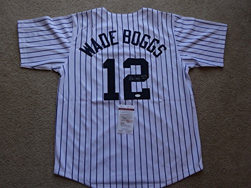 (WADE BOGGS SIGNED AUTO NEW YORK YANKEES PINSTRIPE JERSEY HOF 05 JSA AUTOGRAPHED)