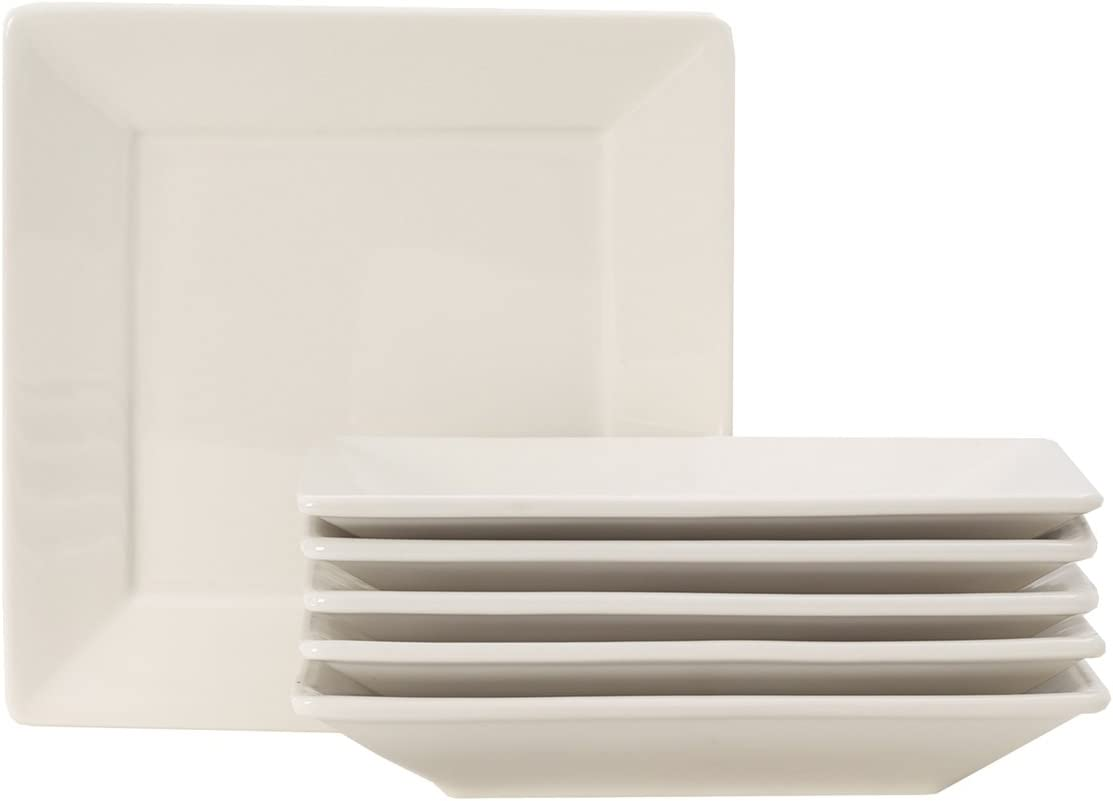 """Tuxton Home Duratux Square Plate 8 1/2"""" x 8 1/2"""" American White (Eggshell) - Set of 6; Commercial Grade Nonporous Virtrified China;"""