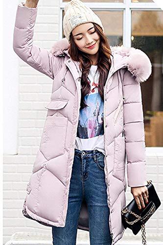 Largo Retro Fashion Pink Pluma Piel Manga Caliente Acolchado Invierno Día Casuales Con Elegantes Outdoor Capucha Abrigo Mujer Talla De Parka Grande Larga Plumas YZgWvnBn6