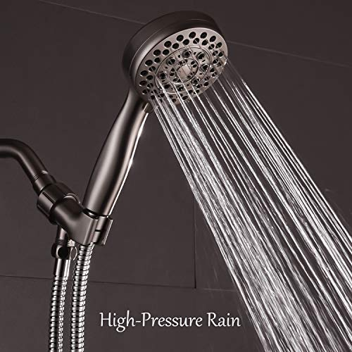 Brushed Nickel 5-Function Handheld Shower Head with Hose and Bracket