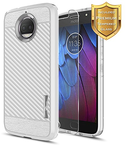 Moto G5S Plus Case, Moto G5S+ Case with [Tempered Glass Screen Protector], NageBee [Frost Clear] [Carbon Fiber] Premium Slim Protective Rubber Case For Motorola G5S+ / G5S Plus XT1806 (Gray)