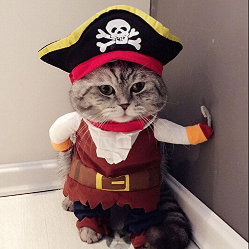 PANPET New Funny Pet Clothes Caribbean Pirate Dog Cat Costume Suit Corsair Dressing up Party Apparel Clothing for Cat Dog Plus Hat S (Dog Costumes Halloween Canada)