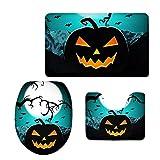 Halloween Pumpkin Pattern Bathroom Rug Set Toilet Seat Cover Contour Mat 3 PCS FOR U DESIGNS