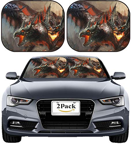 MSD Car Sun Shade Windshield Sunshade Universal Fit 2 Pack, Block Sun Glare, UV and Heat, Protect Car Interior, Image ID: 14873982 Illustration of Three Headed Dragon