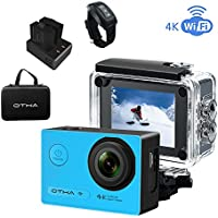 Underwater Action Camera , OTHA 4K Waterproof Sports Video Camera Night Vision ,2 Rechargeable Batteries,Remote Control(Blue)