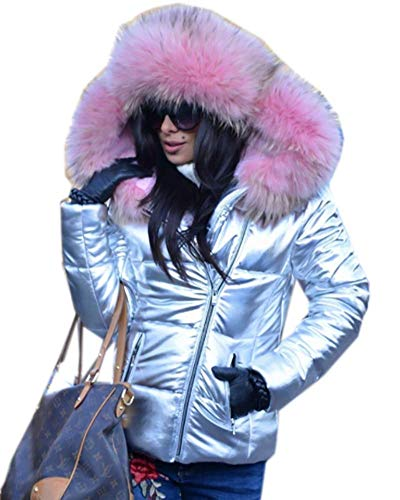 Roiii Women Winter Warm Down Jacket Ladies Thick Slim Flash Forward Short Coat Down Outdoor Hood Parka Short Slim Jacket (X-Large, Sliver Pink)