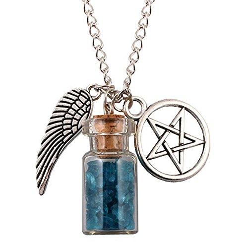 Necklace Opeof Angel Wing Pentagram Rock Salt Wishing Bottle Pendant Amulet Necklace Gift - Blue