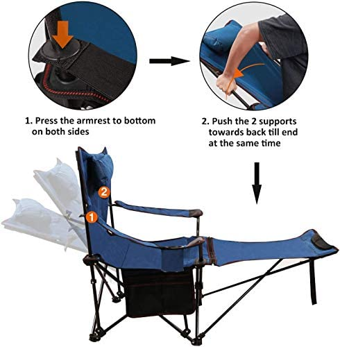 RedSwing Recliner Camping Chair with Footrest, Heavy Duty Folding Camp Chairs for Adults 300 lbs, Lightweight Portable for Outdoor