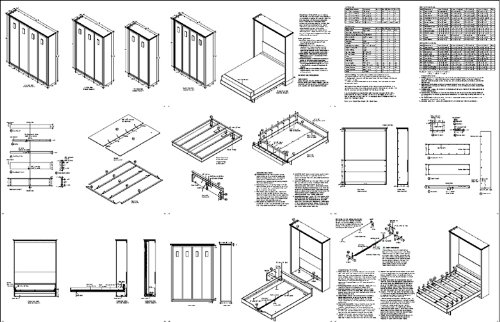 low cost diy murphy wall bed frame woodworking plans king queen full and twin included 1avwb. Black Bedroom Furniture Sets. Home Design Ideas