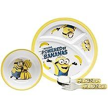 Zak Designs DESR-3780 4 Piece Break resistant and BPA free Plastic Toddlerific Minions Movie Mealtime Set includes Sectioned Plate, Bowl and Flatware Utensils, Multicolor