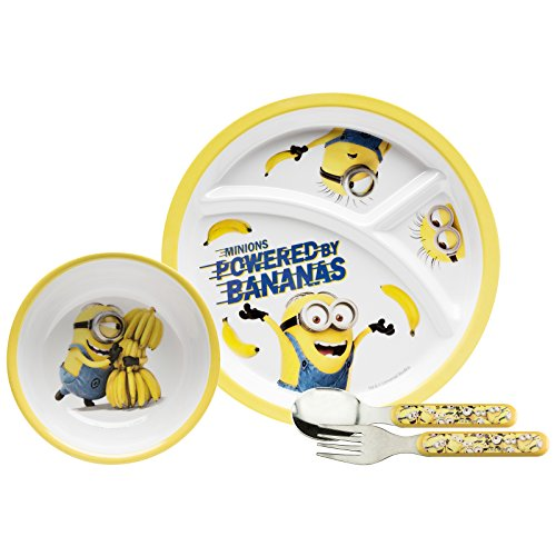 Zak Designs DESR-3780 4 Piece Break resistant and BPA free Plastic Toddlerific Minions Movie Mealtime Set includes Sectioned Plate, Bowl and Flatware Utensils, Multicolor by Zak Designs