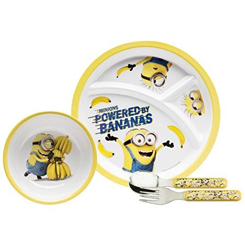 Zak Designs DESR-3870 Toddlerific Dinnerwear Set Plate + Bowl + Flatware Minions Movie 5pc ()