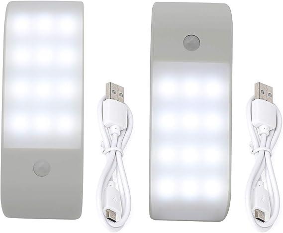 Luz Armario para Escaleras Gabinete-2 Pack Cocina Luz Led Armario Magn/ética 72 LED 1200mA Luz Sensor Movimiento USB Recargable,LED Armario con 3 Colores de Brillo Pasillo Armario