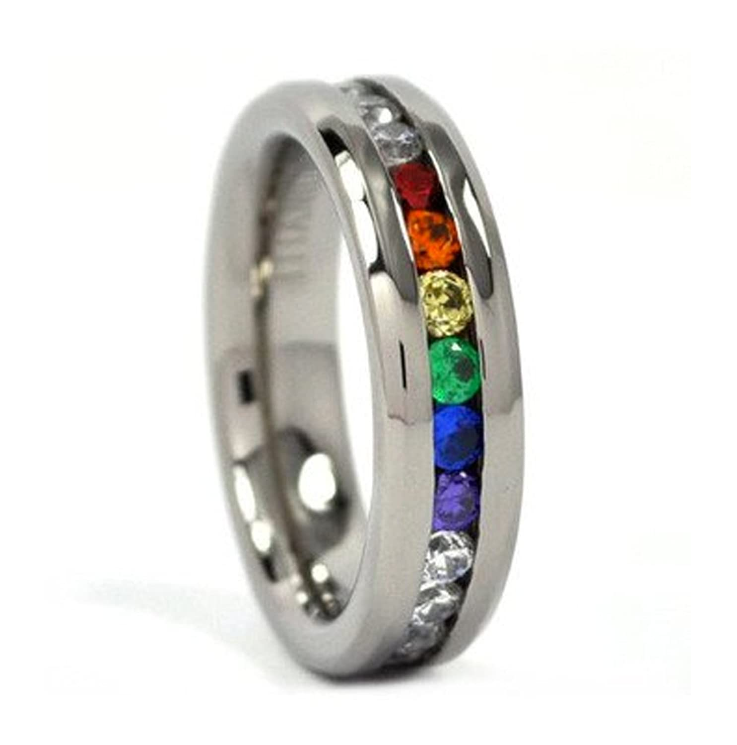 rainbow lara item color comrades ring half new jewelry from fashion in bands wedding silver steel gay wholesale rings stainless titanium six