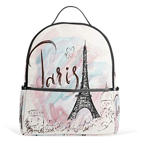 Eiffel Tower Paris Backpack Waterproof Shoulder Bookbag, Pink Heart Laptop Bag Casual Day Pack Outdoor Travel Sports Bags for Kids Women Men (Tower Outdoor Eiffel)