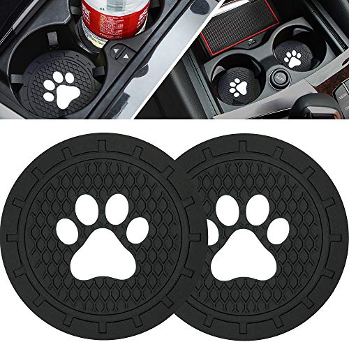 BukNikis Cup Holder Coasters-Car Interior Accessories 2.75 inch Silicone Anti Slip Dog Paw Car Coaster -Universal (Pack…