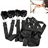 Moonight Under Bed Restraint Kit with Hand Cuffs Ankle Cuffs SM Bondage Kit For Couples - Black