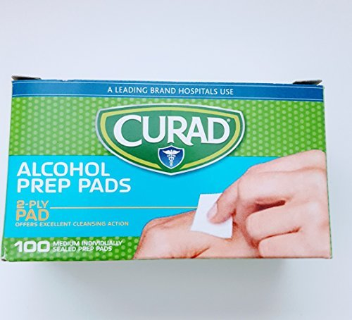 (Curad Alcohol Swabs Antiseptic Prep Wipes 300 Count Sterile Medium Pads Individually Sealed - Pre-injection Skin Prepping. - Contains 70% Isopropyl Alcohol. 3 x 100 Count Total: 300 Pads Included)