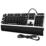 Mechanical Gaming Keyboard,Programmable,7-Color Backlit, 26 Anti-ghosting Keys,5 Macro Keys(G1-G5) for Gamers Typists Office Home WCG (105-Key,Black)