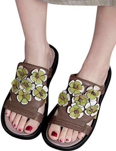 Youlee Damen Sommer Handgefertigt Blume Leder Hausschuhe