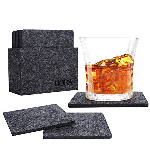 HODA Coasters for Drinks Absorbent Felt Coasters with Holder The Best Coaster Gift Set of 8 - Square