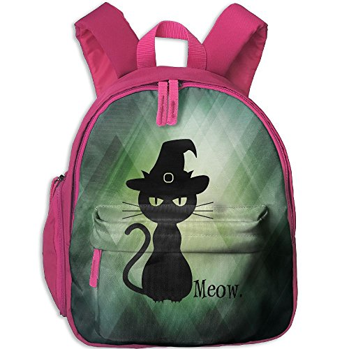 Kids Toddler Black Cat Halloween Preschool Backpack School Bag Pink
