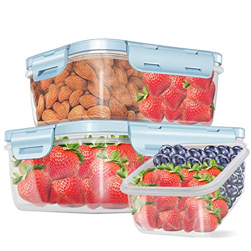 3 Piece Food Storage Containers with Lids BPA Free, 13/26/44 oz, Plastic Good Grips Seal Airtight Fresh-Keeping Rectangle Meal Prep Containers Leakproof Lunch Bento Box Set, BPA - Free & FDA - Blue