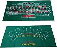 Blackjack and Roulette Table Felt   Gaming Mat Perfectly Sized to Fit Most Dining Room Tables   Roll Out Felt