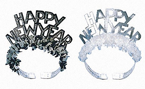 Creative Converting Glitter Foil Tiaras with Fringe, Happy New Year, 50-Count