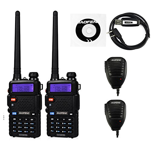 2 Pack Baofeng UV-5RTP Tri-Power 8/4/1W Two-Way Radio Transceiver (UV-5R Upgraded Version with Tri-Power), Dual Band 136-174/400-520MHz True 8W High Power Two-Way Radio + 1 Programming Cable + 2 Remote Speakers by BaoFeng