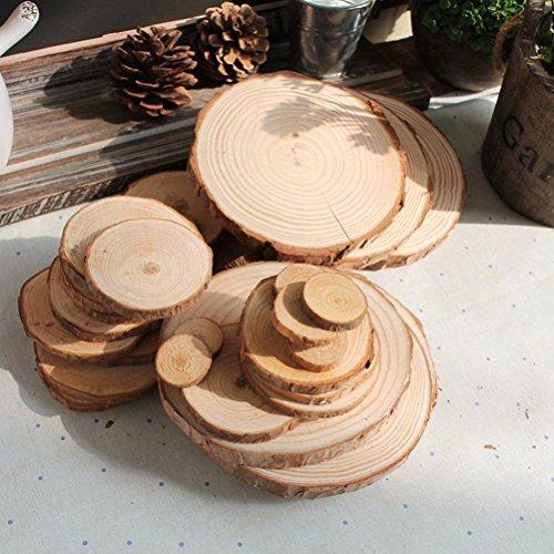 Tinksky Wood Slices Log Slices for DIY Crafts Wedding Centerpieces,100pcs