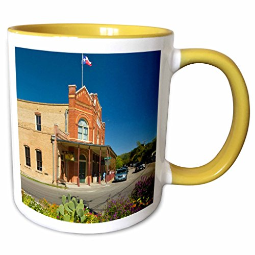 3dRose Danita Delimont - Texas - Historic Dancehall, Gruene, New Braunfels, Texas, USA - US44 LDI0931 - Larry Ditto - 11oz Two-Tone Yellow Mug - New Outlet Braunfels