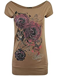 Chocolate Pickle Womens Sequin Purple Floral Glitter T-Shirts
