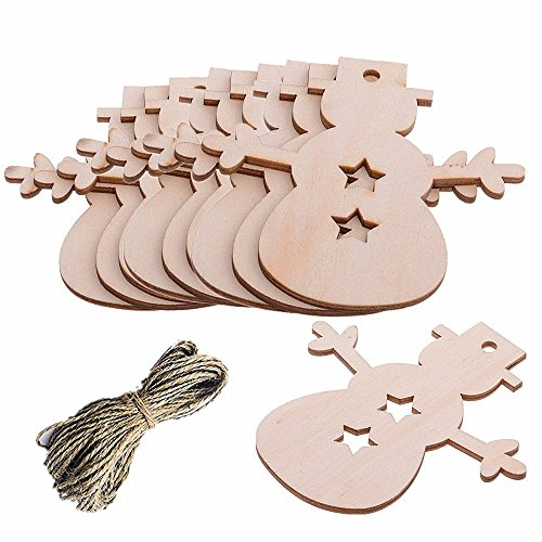 Pack of 10 Christmas Wooden Snowman Blank Wood Gift Tags Crafts Wood Slices with Holes Cutouts for Kids Crafts Christmas Tree -