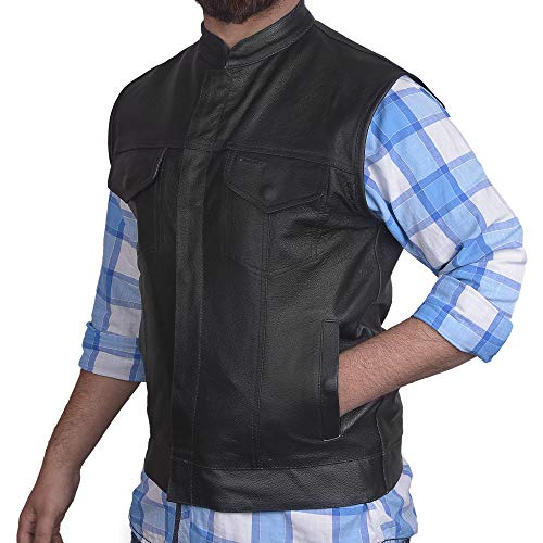 Men's SOA Motorcycle Genuine Cowhide Leather Club Style Vest with Concealed Gun Pockets New (2XL)