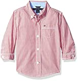Tommy Hilfiger Baby Boys Long Sleeve Striped Woven Shirt, Bulls Eye Red, 18M