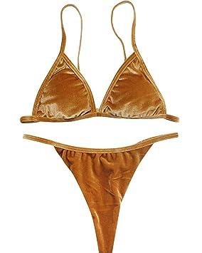 Bikini de Terciopelo de Las Mujeres Ambos Lados Usan Traje de baño Sujetador (Color : Oro, tamaño : S): Amazon.es: Hogar