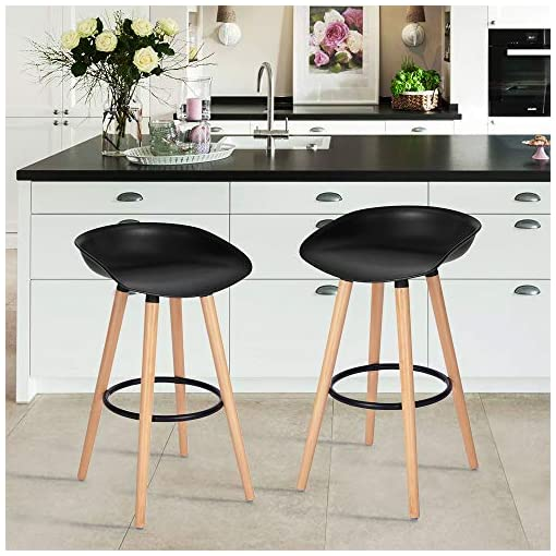 Kitchen FurnitureR Set of 2 Bar Chair Pub Bar Height Barstool Modern Industrial Dining Bar Stools Chairs with PP Seat Backrest… modern barstools