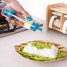 2 in 1 Kitchen BBQ Condiment Oil Soy Sauce Vinegar Spray Bottle Cruet Dispenser (Blue)