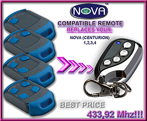 NOVA (CENTURION) compatible remote control, replacement transmitter, 433.92Mhz rolling code keyfob