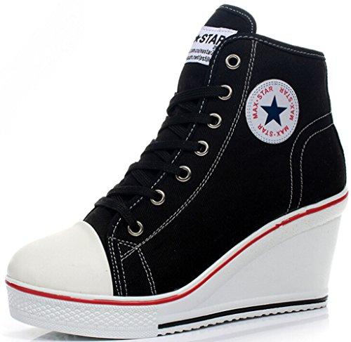 JiYe Women's High-heeled Canvas Shoes High-Top Wedge Fashion Sneakers,Black,10.5 M US - High Heel Sneaker Shoes