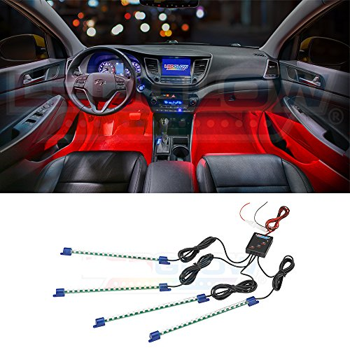 LEDGlow 4pc Red LED Car Interior Underdash Lighting Kit - Universal Fitment - Music Mode - Auto Illumination Bypass Mode