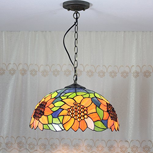 ETERN 12-inch Vintage Pastoral Rustic Stained Glass Sunflower Ceiling Lamp Pendant Lamp Living Room Light Hallway Lamp