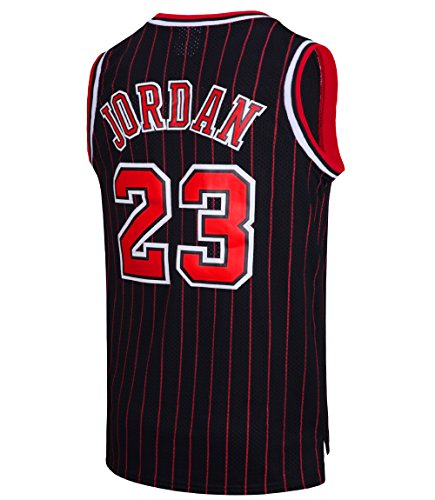 RAAVIN Legend Mens #23 Basketball Jersey Retro Athletics Jersey Red White Black/Strip S-XXXL(Black-Strip, 3X-Large) - Michael Jordan North Carolina Jersey