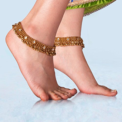 Charms Golden Ethnic Antique Kundan Studded Alloy Anklet by Unknown (Image #4)